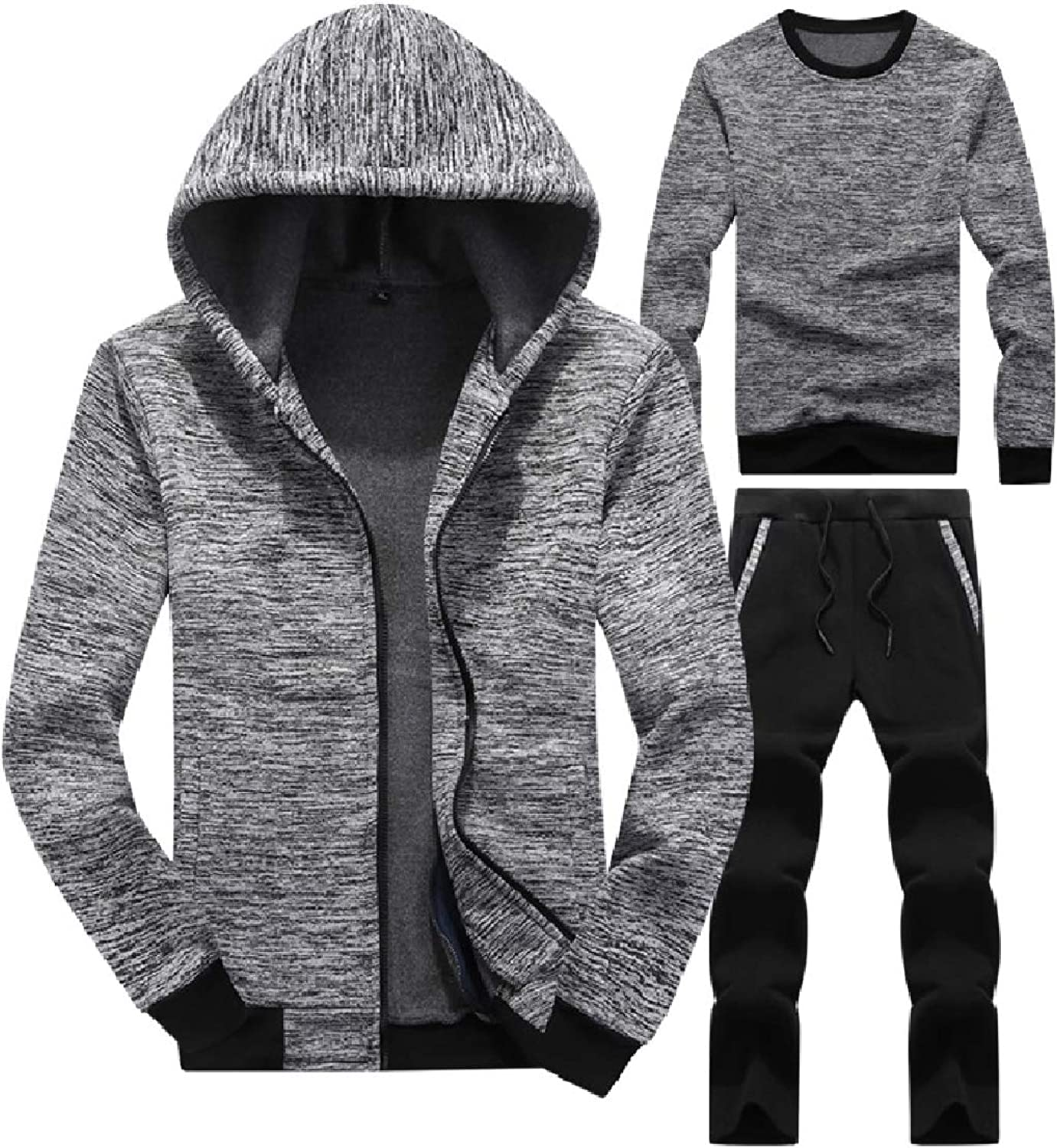 Abetteric Mens RelaxedFit Hooded Casual Activewear 2Piece Set Solid Sweatshirt+Pants Sets