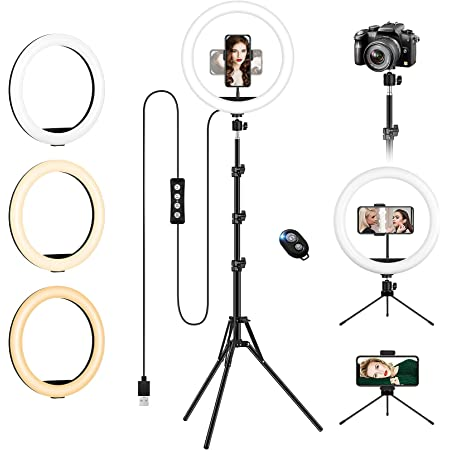 "Luce Led Anulare con Stativo Treppiede,12"" LED Ring Light Dimmerabile Selfie Light Kit con 3 Modalità Colore e 10 Luminosità, supporto telefonico, Alimentazione USB per Makeup/Video/Streaming"