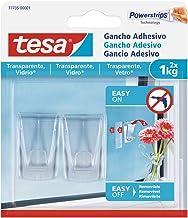 Tesa 77735-00001-00 kleefhaken voor spiegels en oppervlakken, maximaal gewicht 1 kg, 2 haken en 4 strips, set van 2 stuks