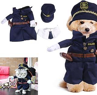 UEETEK Ropa para Mascotas del Traje del Gato del Perro de la Mascota Vestido Arriba del Juego del Agente de la policía Tamaño XL