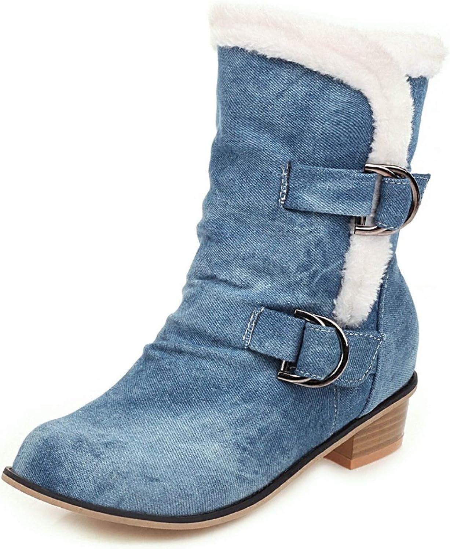 Womens Denim Overseas parallel import regular item Stacked Low Heel Boots Ankle Buckle Block Stra Popularity
