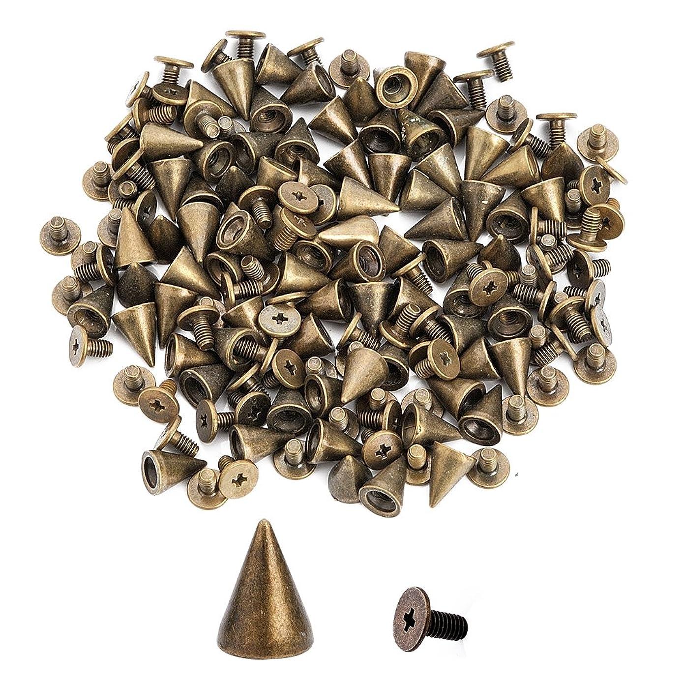 100pcs Cone Spikes Screwback Studs DIY Craft Cool Rivets Punk Stud Coincal 7x10mm 1/4