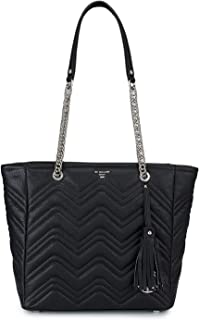 Da Milano Women's Black Quilted Leather Tote Bag
