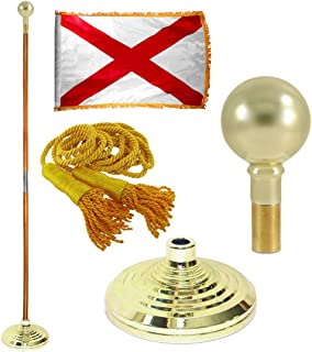 Super Tough Alabama 3ft x 5ft Flag, Flagpole, Base, and Tassel (7 Ft Oak Pole, Parade Ball)