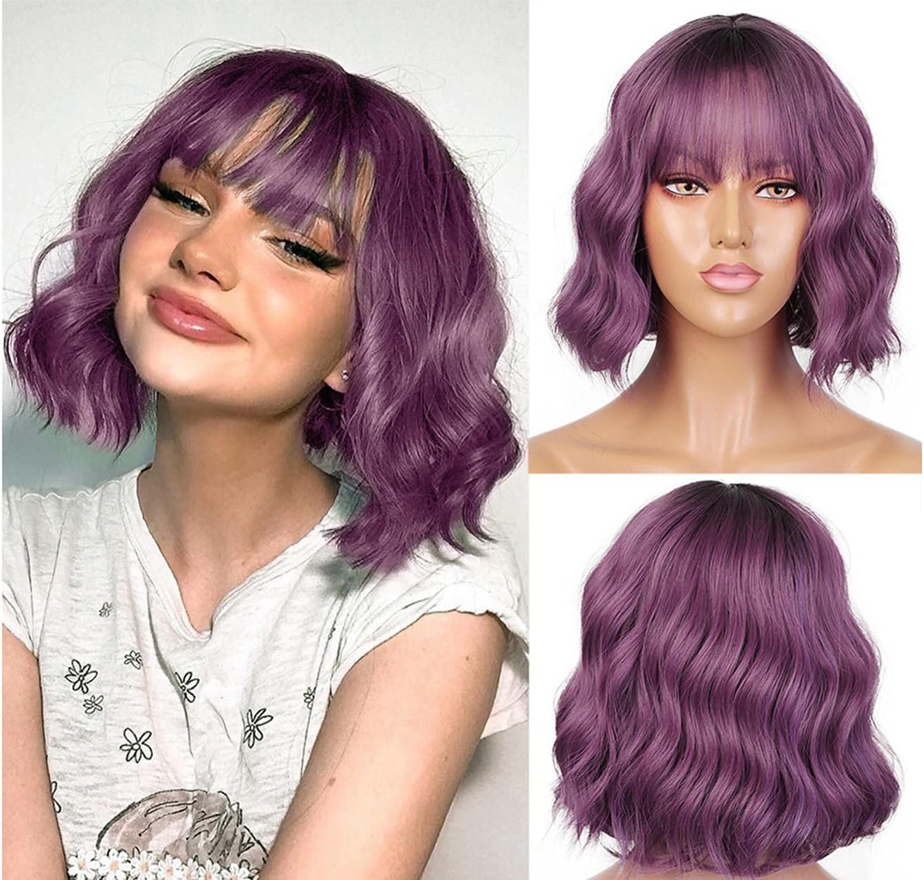 LEMEIZ Flawless Beachy Weave Purple Wigs with Bangs Ombre Dark to Purple Synthetic Wigs for Women Short Wob Hair Wigs uk 10 inch LEMEIZ-134