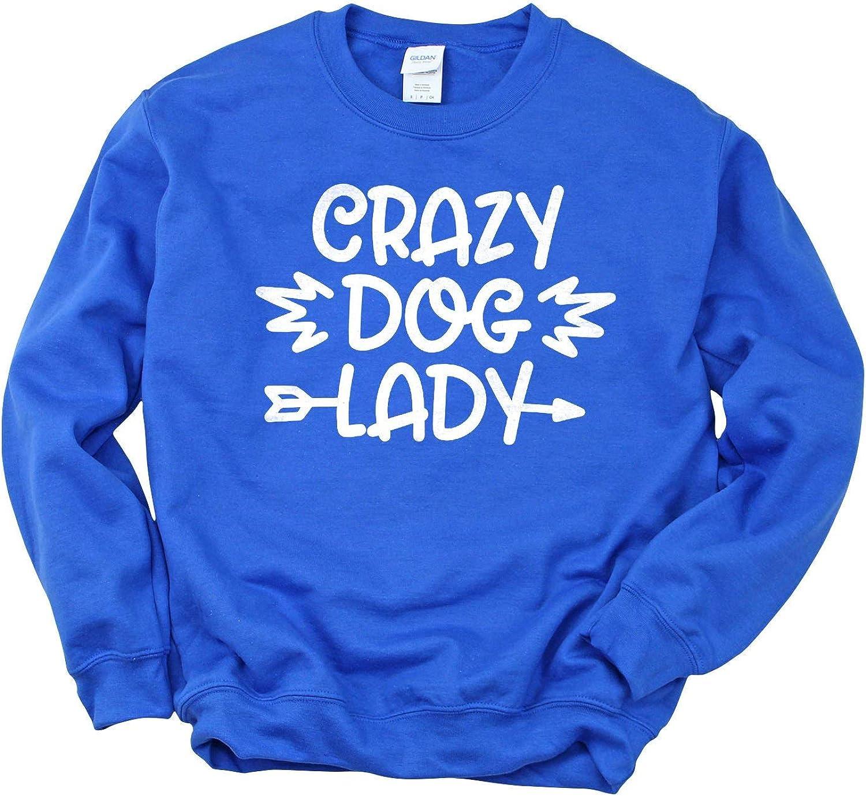 Crazy Dog Lady Unisex Crewneck Sweatshirt L Sleeve Casual Max OFFer 90% OFF Long