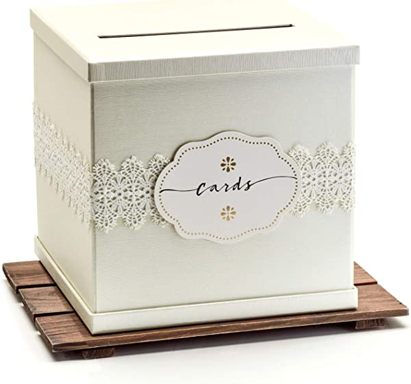 Hayley Cherie Ivory Gift Card Box With White Lace And Cards Label Ivory Textured Finish Large Size 10 X 10 Perfect For Weddings Baby Showers Birthdays Graduation