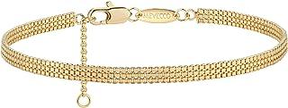 اساور سلسلة مصنوعة يدويًا بخرز على شكل الماس او بيضوي او دائري مطلية بذهب عيار 18 قيراط للن من ميفيكو