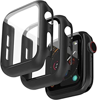 Jvchengxi (2 Stuks) Hard Case Compatibel met Apple Watch 44mm Series 6/5/4/SE Screenprotector, PC Bumper Slim HD Gehard Gl...