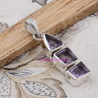 Amethyst Pendant, 925 Sterling Silver Pendants for Womens, Trillion, Square Gemstone Pendants, Handmade February Birthstone Pendants, 3 Tier Pendants