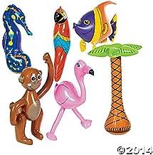 6 Pc INFLATABLE LUAU Decorations/PARROT, Flamingo, Palm Tree, Monkey, Seahorse & Tropical Fish 27
