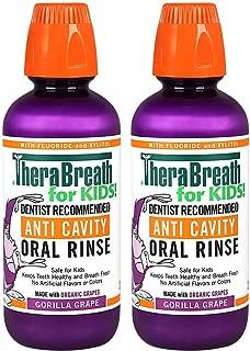TheraBreath kids anti-cavity Oral Rinse, Organic gorilla Grape Flavor, 16 Oz, Pack Of 2