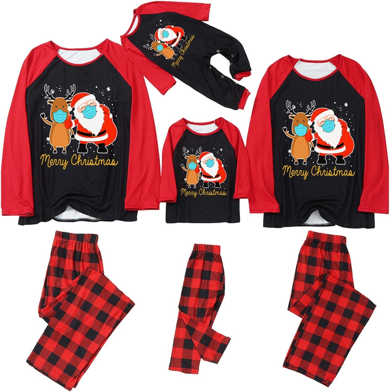 Matching Family Christmas Pajamas Set Christmas Pjs for Family Set Santa Print Top and Long Pants Sleepwear Sets