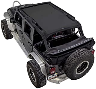 SPIDERWEBSHADE compatible with Jeep Wrangler Mesh Shade Top Sunshade UV Protection Accessory USA Made with 10 Year Warranty for Your JKU 4-Door (2007-2018) in Black