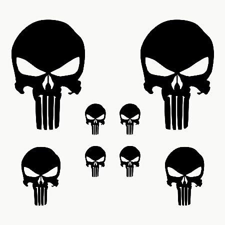 Autodomy Punisher Skull Aufkleber Paket 8 Stück Für Auto Oder Motorrad Schwarz Auto