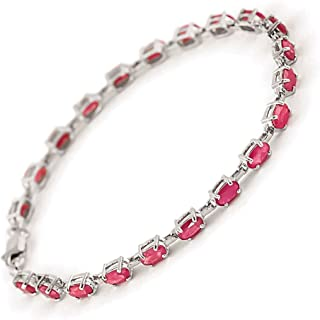 14k Solid White Gold Tennis Bracelet with 8 Carat (CTW) Natural Red Ruby -3556W