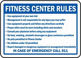 PaBoe Fitness Center Rules Sign 8x12 Safety Sign Notice Danger Warning Sign Outdoor Sign