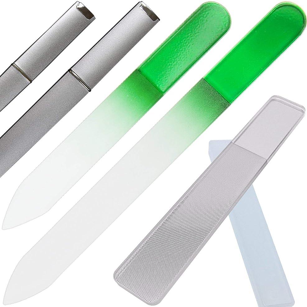 気晴らし誇張芝生3点セット 爪やすり ネイル ケア 爪磨き ガラス製 専用 ケース付 ネイル ケア