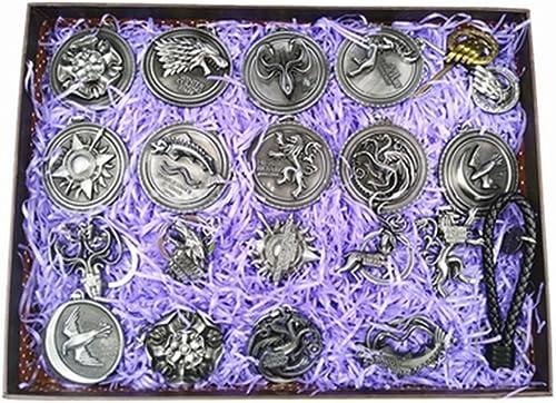 selección larga Nexthops Game of Thrones Insignia 18PCS Juego de tronos tronos tronos Vintage acesario de plata Colección Unisex adulto Las insignias de las familias del trono de hierro llavero colgante con cubo de regalo  buen precio