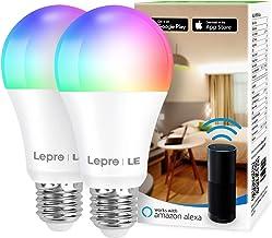 Lepro Slimme gloeilampen E27, Smart WiFi LED-lamp, 9W 806 LM WLAN dimbare lamp, meerkleurig, app-besturing, compatibel met...