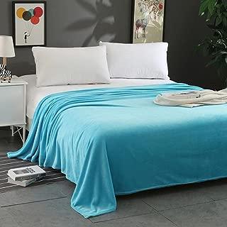 Transer Flannel Fleece Blanket Lightweight Cozy Plush Microfiber Solid Throw Rug - 27.6x39.4 / 59x78.7/70.9x78.7 inch (27.6x39.4inch, Sky Blue)