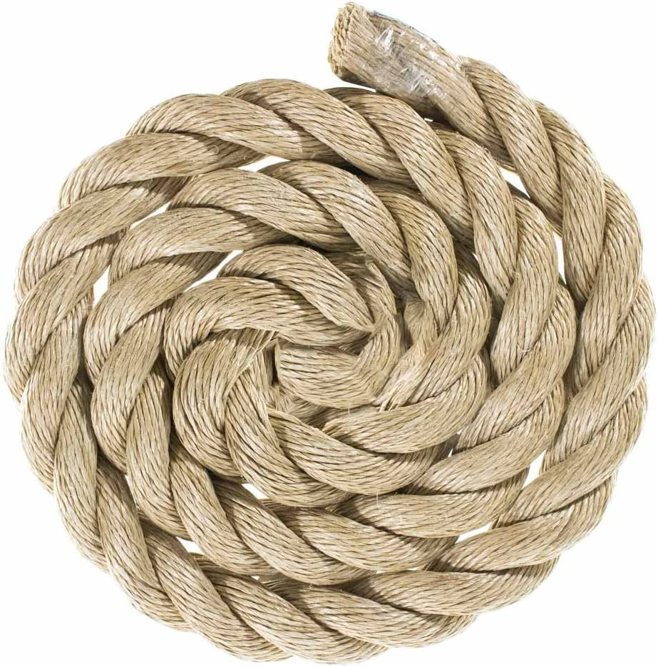 GOLBERG G ProManila Rope DIY Projects Marine Nautical Tie Downs 1 Inch, 50 Feet Tan Twisted 3 Strand Polypro Cord