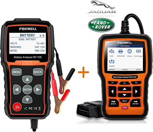 new arrival FOXWELL sale BT705 Automotive Battery Tester with OBD2 Scanner new arrival for Land Rover&Jaguar Diagnostic Scan Tool online sale