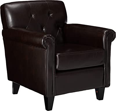 Christopher Knight Home Veronica Tufted Leather Club Chair, Brown