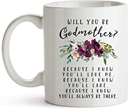 YouNique Designs Will You Be My Godmother Mug, 11 Ounces, Fairy Godmother Proposal Coffee Cup from Godchild, Godparent Proposal
