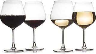 Set of 4 - Modern Laser Cut Rim 24 Oz Wine Glasses Made of Lead Free Crystal With Seamless Joints (Short Stem)