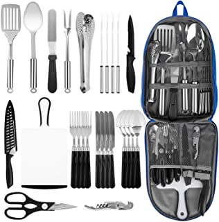 Portable Camping Kitchen Utensil Set, 27-Piece Stainless Steel Outdoor Cooking and Grilling Utensil Organizer Travel Set P...