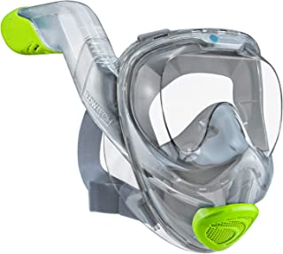 WildHorn Outfitters Seaview 180° V2 Full Face Snorkel Mask with FLOWTECH Advanced Breathing System - Allows for A Natural & Safe Snorkeling Experience- Panoramic Side Snorkel Set Design