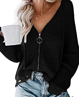 Womens Zipper Pullover Sweater Casual Long Sleeve V-Neck Loose Tops Blouses