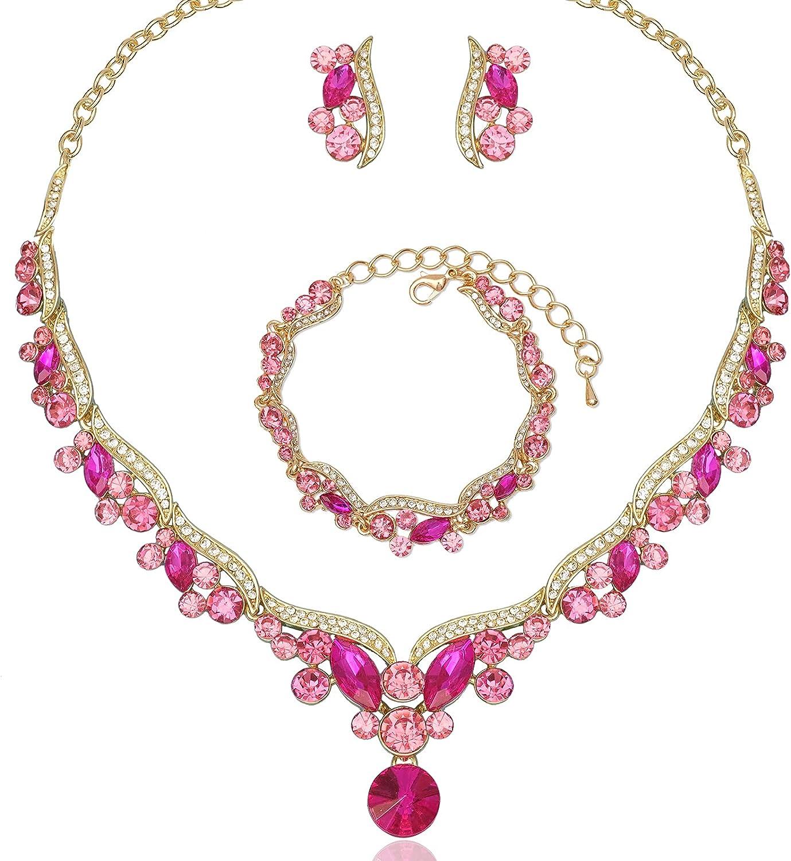 Elegant Austrian Crystal Bridal Choker Necklace Earring Link Bracelet Sets Wedding Prom Costume Jewelry For Bride Bridesmaid Women