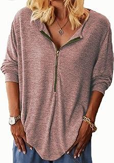Women Zipper Up Tunic Top Tee Shirts, Womens V Neck Long Sleeve Casual Henley Tops Blouse T-Shirt Shirts Tee (Color : Khak...