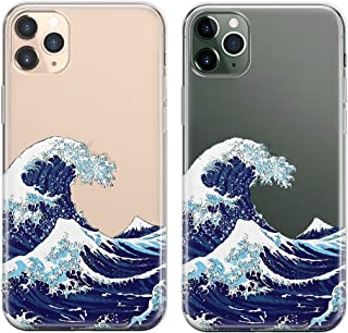 uCOLOR Case for iPhone 11 Pro Max Japanese Wave Thin Slim Hybrid Case Hard PC with Soft TPU Bumper Anti-Scratch Protective Crystal Clear Case Designed for iPhone 11 Pro Max 6.5 inch 2019 Release