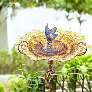Glass Bird Bath Outdoor Birdbaths Garden Birdfeeder with Metal Stake Yellow(Height:31inch)
