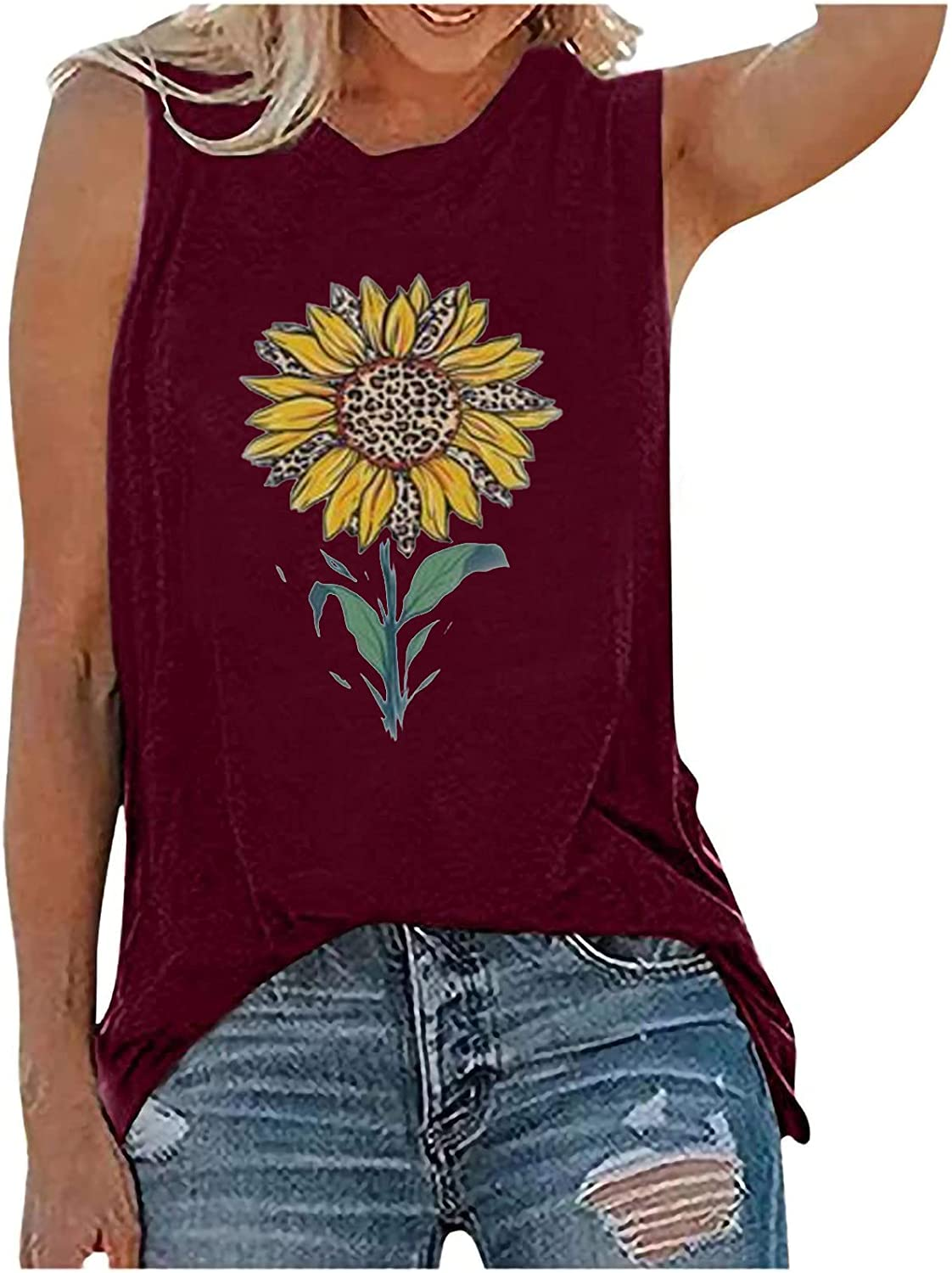 Womens Summer Sexy Workout Tank Tops Sleeveless Casual Loose Tunic Tees Plus Size Sunflower Print O-Neck Vest Tshirt