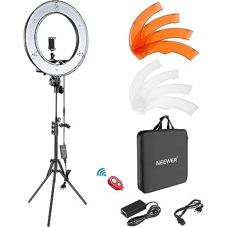 Neewer Foto/Video Luce LED Anulare 48cm Esterno, 52W 5500K Dimmerabile con Light Stand, Borsa di Trasporto per Smartphone, Youtube, Auto-riprese