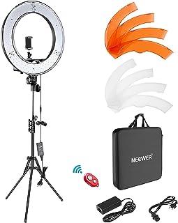 Neewer Camera foto video ring licht kit: 18 inch/48 centimeter buiten 52 W 5500 K dimbare LED ringlicht standplaats Blueto...