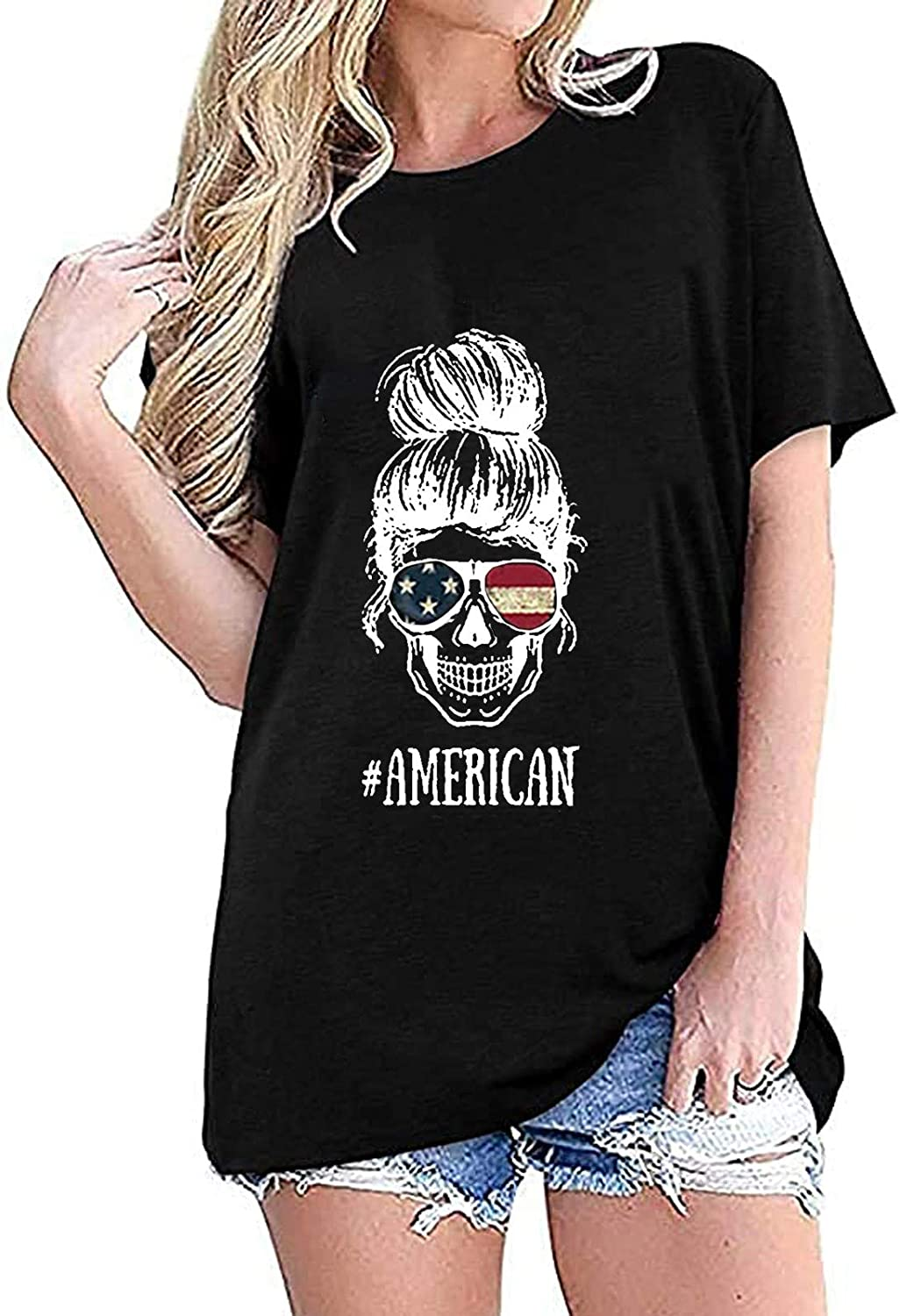 ORT July 4th Shirt for Women,Summer Tops Crew Neck Flag Printed Independence Day Workout Tops Casual T-Shirt Tunic Tops