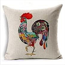 18 x 18 Inches Home Decorative Cotton Linen Square Throw Pillow Case Cushion Cover Chicken Design