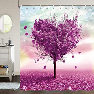 JAWO Valentine's Day Shower Curtain for Bathroom, Romantic Maple Tree Love Heart Shape Autumn Scene Bathroom for Bathroom Acessories, Fabric Bath Curtain Decor Set with Hooks, 70 X 70 Inches