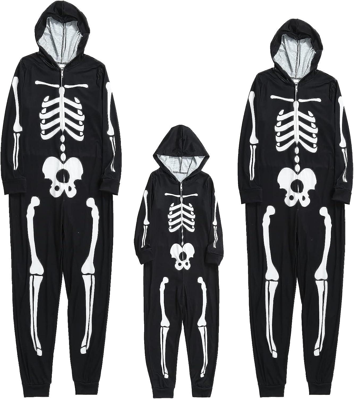 Holiday Halloween Pajamas Family Matching Pjs Set Skull Sleepwear Winter Nightgown Jammies Baby Jumpsuit with Hood