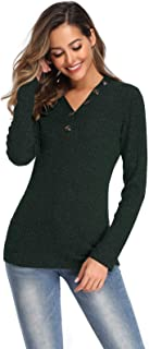 Foobrues Pullover Sweaters for Women Knit Jumper Tops V Neck Casual Oversized Button Long Sleeve