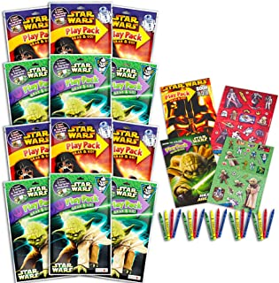 Star Wars Party Favors Set -- 12 Jumbo Star Wars Play Packs Filled with Coloring Books, Crayons and Stickers (Classic Tril...