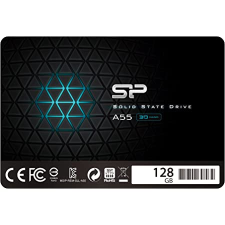 "Silicon Power SSD 128GB 3D NAND A55 SLC Cache Performance Boost 2.5 Pollici SATA III 7mm (0.28"") SSD interno"