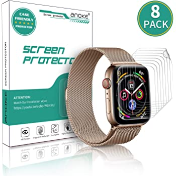 [8Pack] AnoKe for Apple Watch iWatch 42mm / 44mm Screen Protector (Series 6/5 / 4/ SE Series 3/2),Liquid Skin [Max Coverage] Curved Edge Case Band Friendly Lifetime Replacement Warranty 42mm /44mm