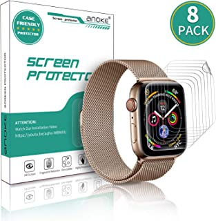 (8 Pack) AnoKe for Apple Watch iWatch 38mm / 40mm Screen Protector (Series 5 Series 4 Series 3/2/1),Liquid Skin [Max Coverage] Curved Edge Case Band Friendly Lifetime Replacement Warranty 38mm /40mm