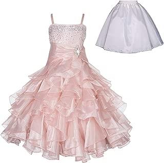 ekidsbridal Elegant Stunning Rhinestone Organza Pleated Ruffled Flower Girl Dress Wedding Free Petticoat 164s